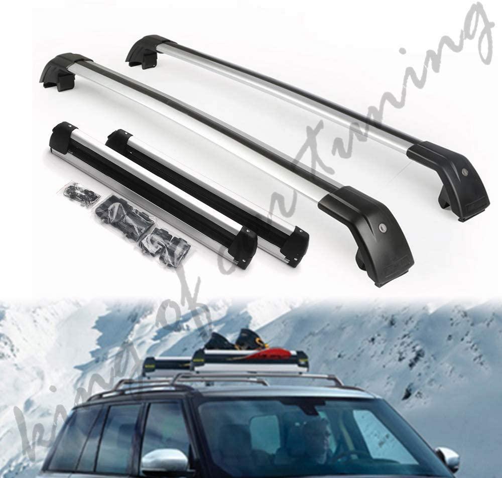 king of car tuning Silver Crossbars Cross Bars Ski Snowboard Roof Top Rail Luggage Carrier Kits Fits for Hyundai Kona 2018 2019