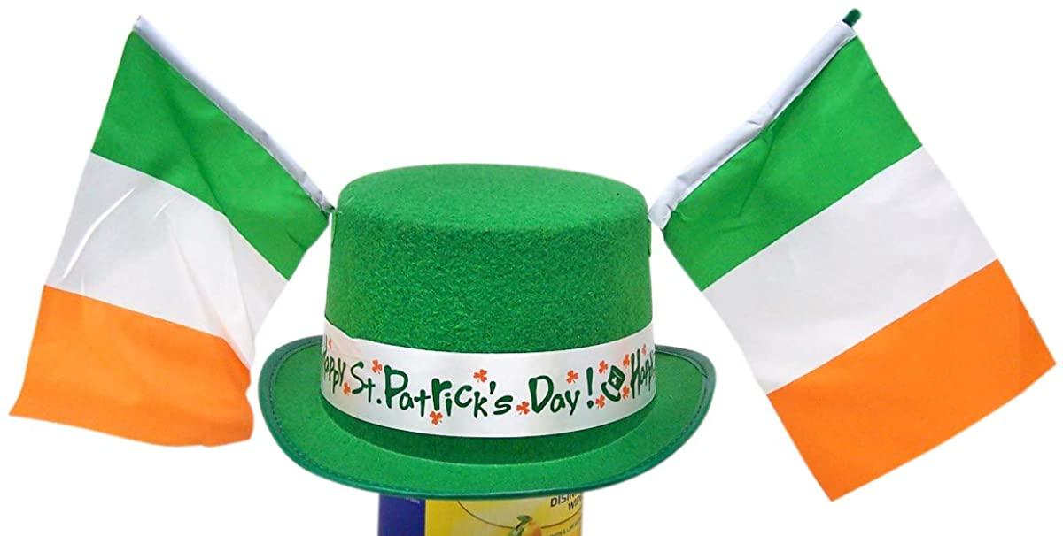 Needzo Happy St Patrick Day Hat with Irish Flag Accessories, 11 1/2 Inch Green