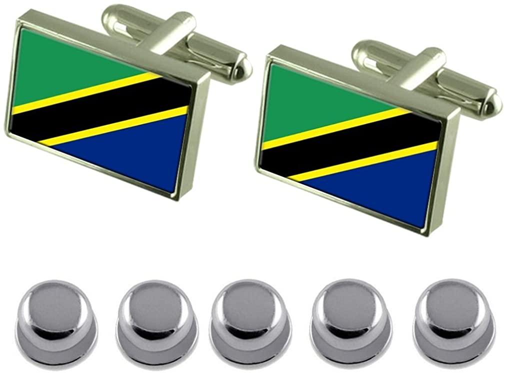 Select Gifts Shirt Dress Studs Tanzania Flag Cufflinks
