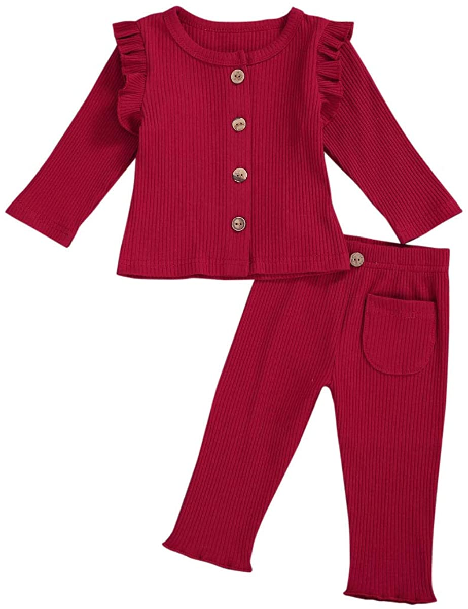 Baby Girl Fall Winter Knit Outfit Set Infant Girl Long Sleeve Ruffle Sweater + Bottom Flare Pants Homewear Set