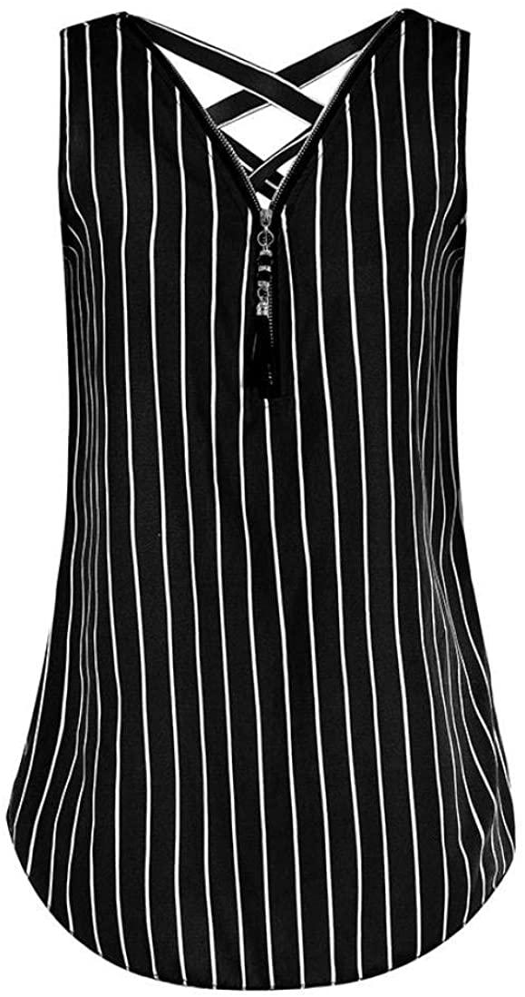 Lelili Women Fashion Tank Tops Plus Size Sexy Floral Printed Zipper Down V Neck Criss Cross Cami Shirt Blouse Vest