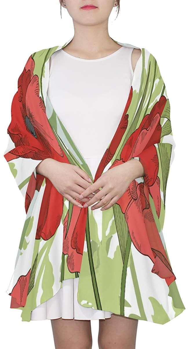 Ethel Ernest Red Corn Poppy Silk Scarf Lightweight Shawl Soft Long Scarves Chiffon Neckerchief for Womens Girls Ladies