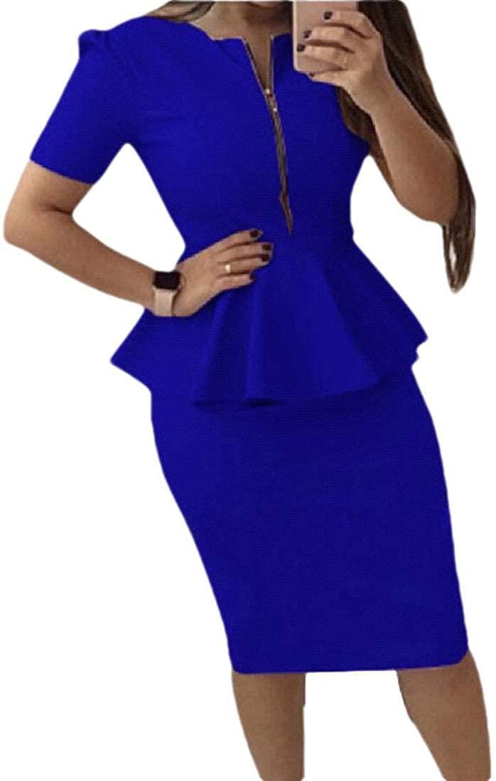 Womens Deep V Neck Ruffle Hem Blazer Jacket Skirts 2 Piece Outfits