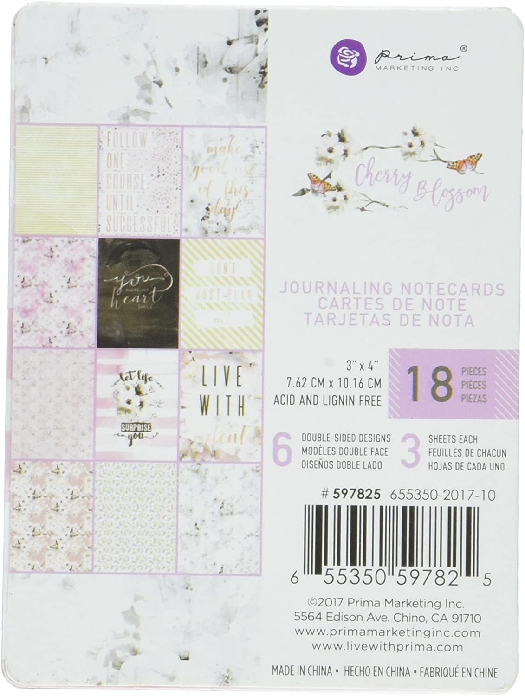 Prima Marketing Unique Design Cherry Blossom Journaling Cards, 3