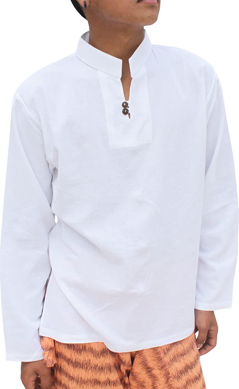 RaanPahMuang Light Summer 100% Cotton Chinese Collar Shirt Two Wood Buttons Longsleeve