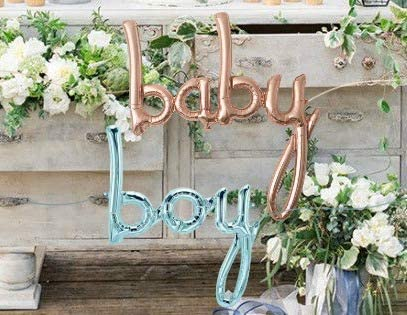 """Baby Balloon White Gold Script and Blue Boy - Jumbo 34"""" Banner Foil Balloon - Perfect Boy & Girl Baby Showers & Sprinkle Parties, Hospital Gifts, Baby Welcoming – Premium Quality, Air-Filled Only"""