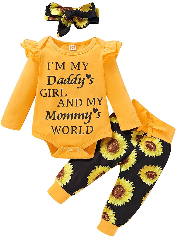 Newborn Baby Girls Ruffle Romper Letter Bodysuit Sunflower Pants Headband Clothes Set