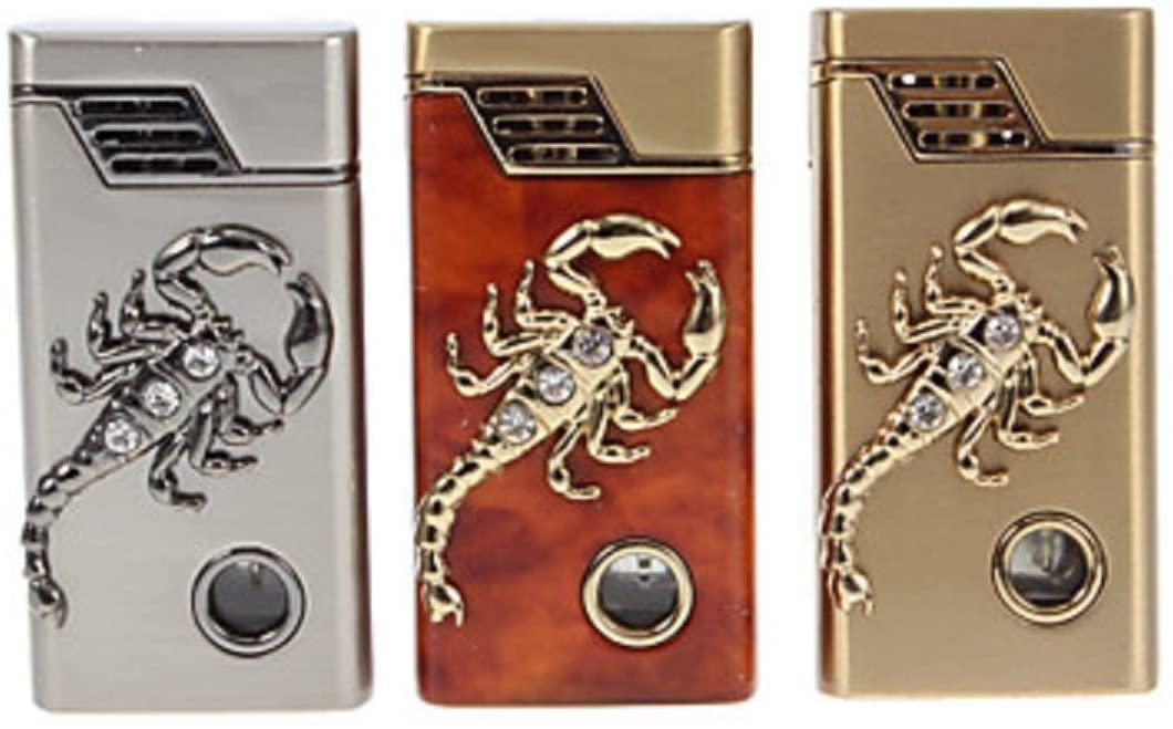 Metal Scorpion Decoration Round Gas Lighter(Random Color) - One Lighter