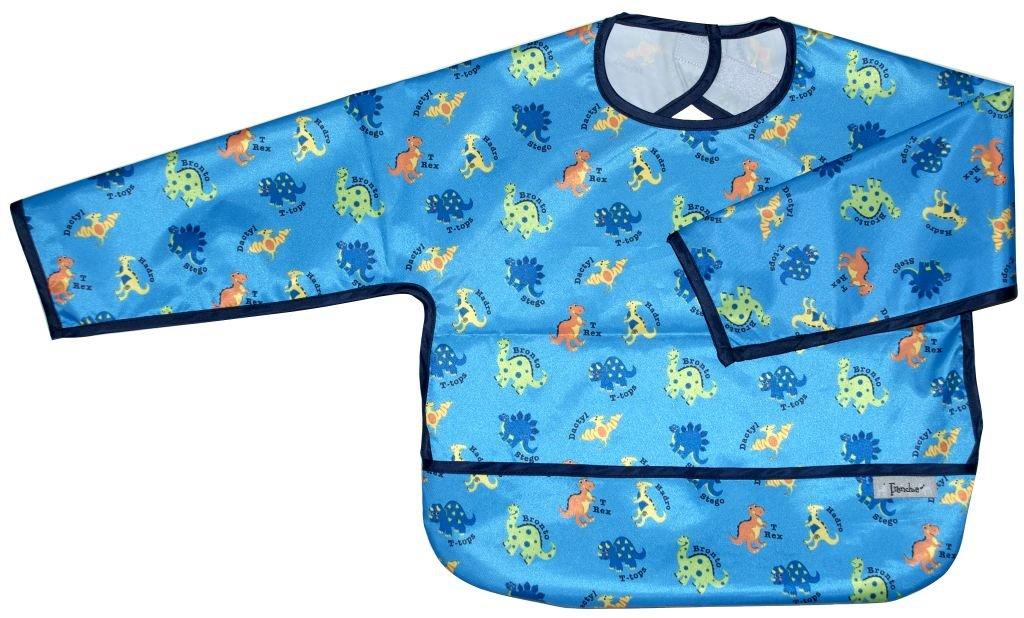 Long Sleeve Small Waterproof Coverall w/Flip Pocket, Blue Dinosaur