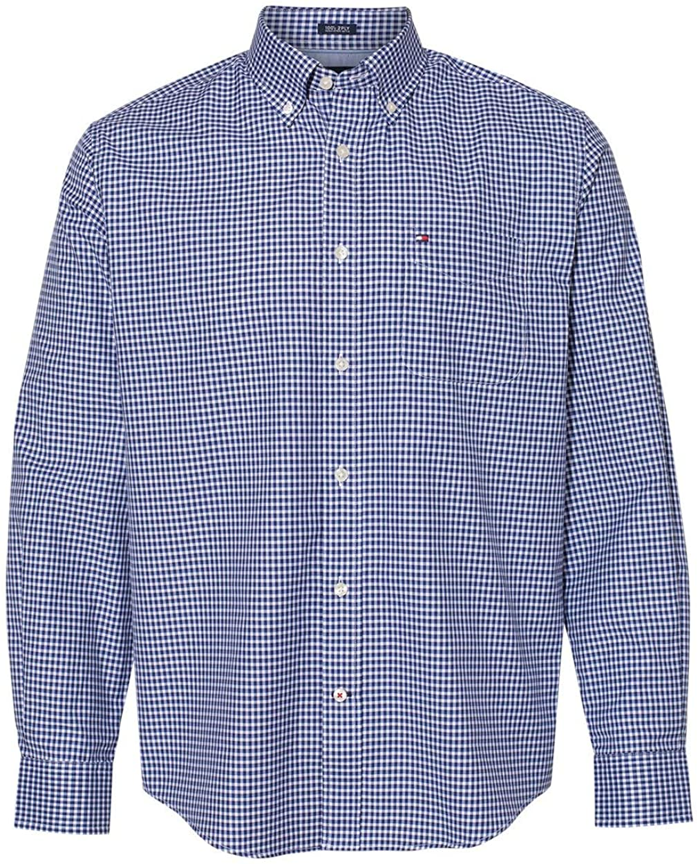 Tommy Hilfiger Men's 100s Two-Ply Gingham Shirt, Blue/Navy, XX-Large