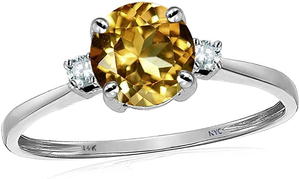 Star K 14k white gold Round Classic Three 3 Stones Engagement Promise Wedding Ring
