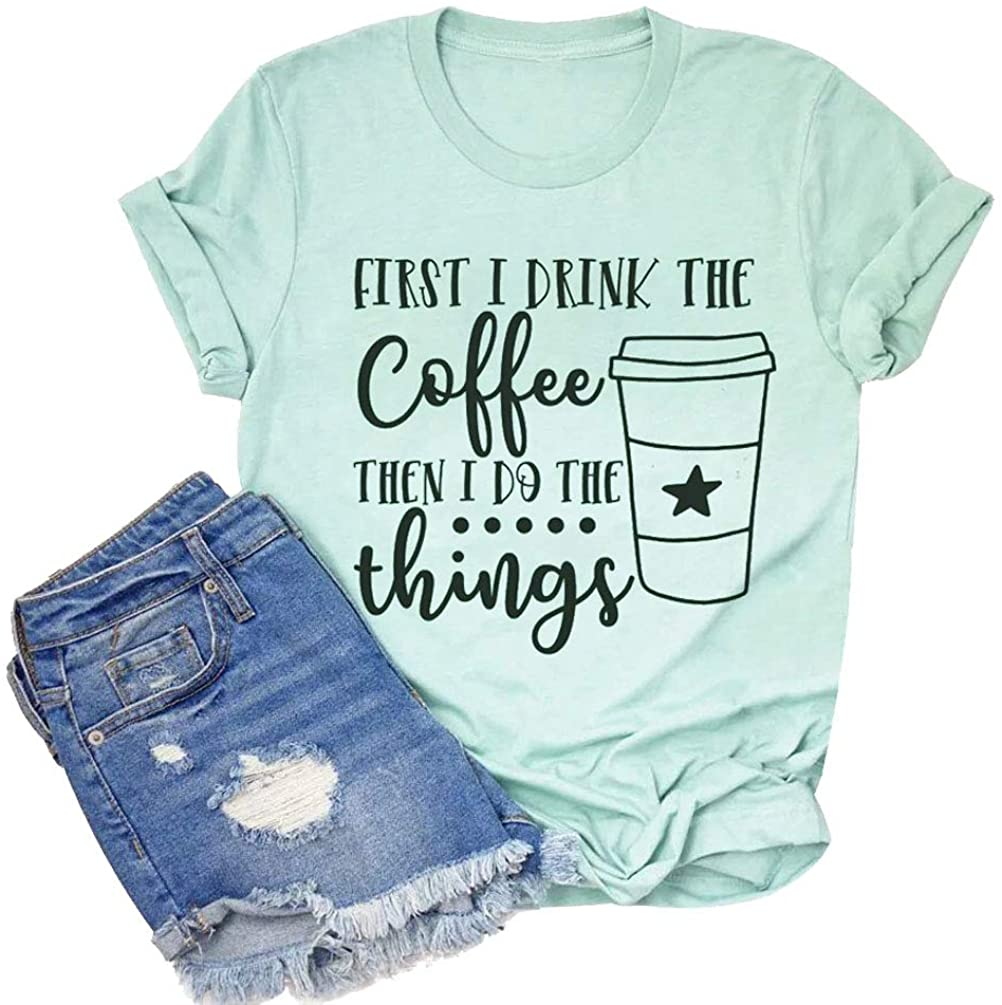GEMLON Women Coffee Graphic T-Shirt Funny Letter Print O Neck Casual Short Sleeve Tee Tops