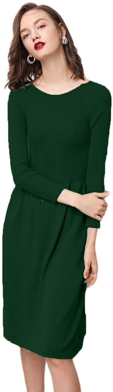 RanRui Women's Cashmere Knited Boat Neck Ribbed Elbow Pleated Slim fit and Flare Sweater Dress