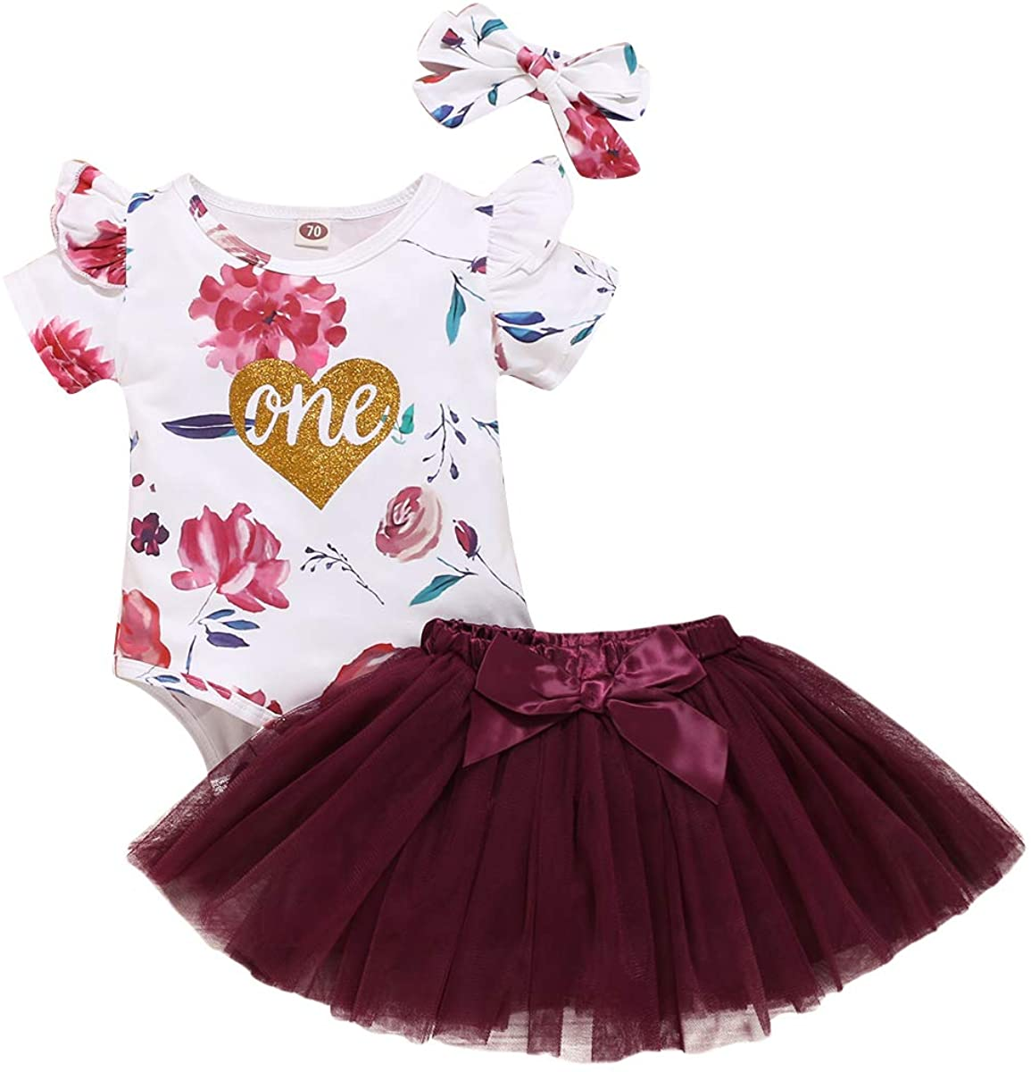 Newborn Infant Baby Girls Summer Clothes Flysleeves Birthday Romper Tutu Skirt One Year Old Outfits