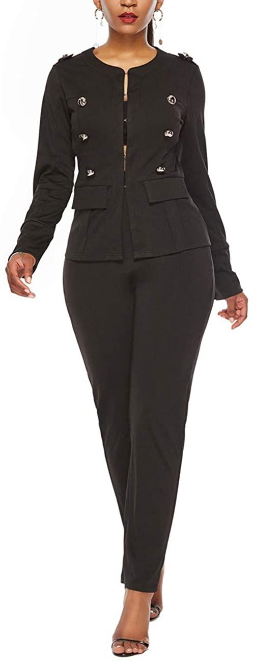 Shin Fashion Women Two Piece Business Elegant Long Sleeve Button Suit