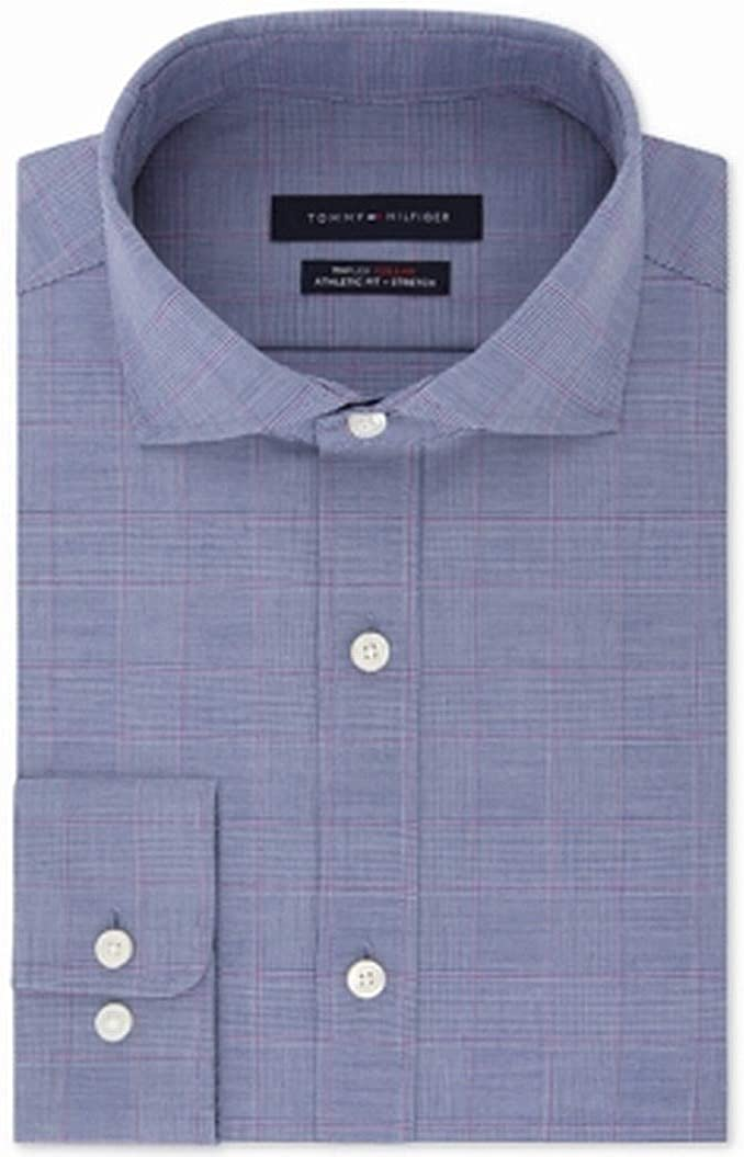 Tommy Hilfiger Athletic Fit Stretch Checkered Long Sleeve Button Down Shirt