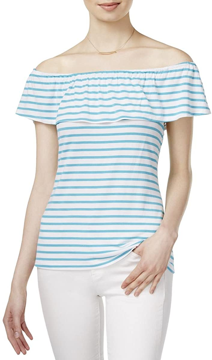 Maison Jules Womens Jersey Striped Casual Top