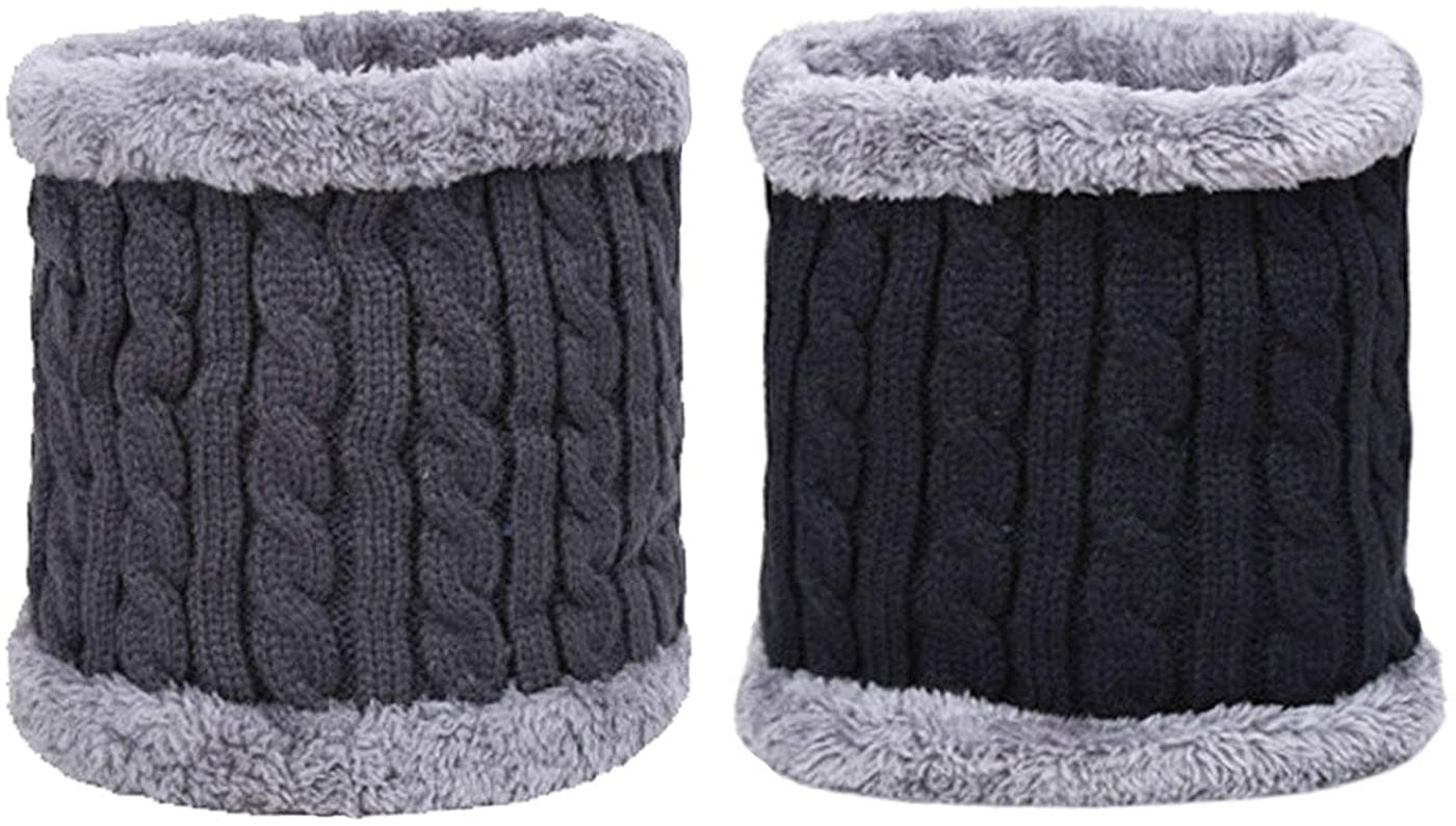 Markeny Unisex Winter Neck Warmer Gaiter Double-Layer Soft Fleece Lined Thick Knit Circle Scarf Windproof (2 Pieces)