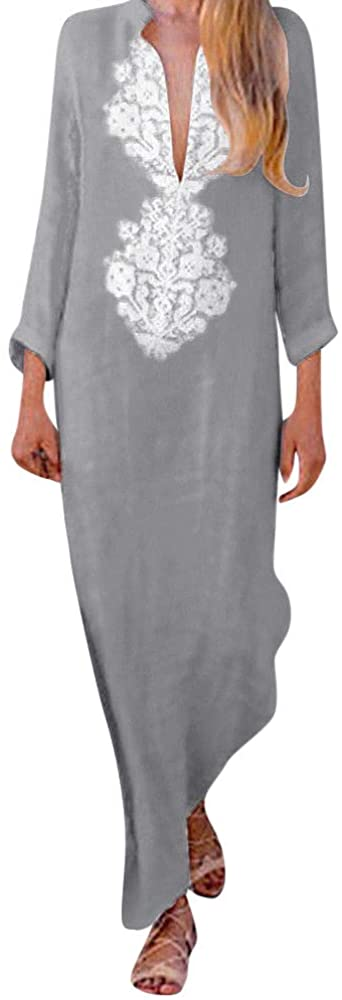 Women's Printed Long Sleeve V-Neck Maxi Dress Split Hem Baggy Kaftan Long Skirt (A-Gray, Large)