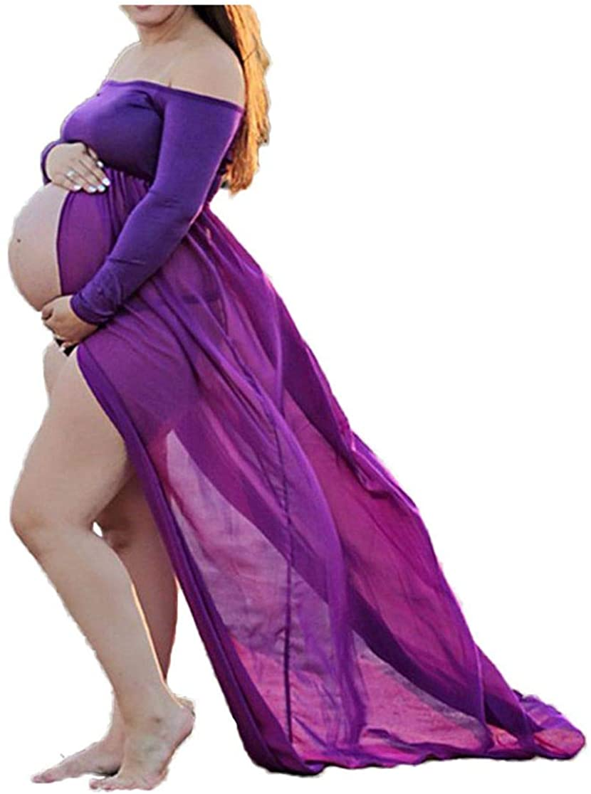 Hopeverl Maternity Chiffon Gown Split Front Off Shoulder Long Sleeve Maxi Photography Dress for Photo Shoot