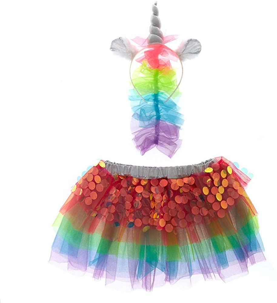 Claire's Club Unicorn Dress Up Set for Girls, Headband and Skirt, Stretchy Waistband, Rainbow, 2 Pieces