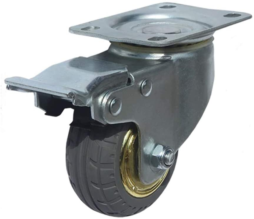 Rubber Casters No Noise Heavy Duty Castor Precision Ball Bearing Industrial Castors Replacement Fixed / Swivel/ Swivel with Brakes Wheels for Carts, Furniture, Workbench, Trolley 3 inch/4 inch/ 5inch