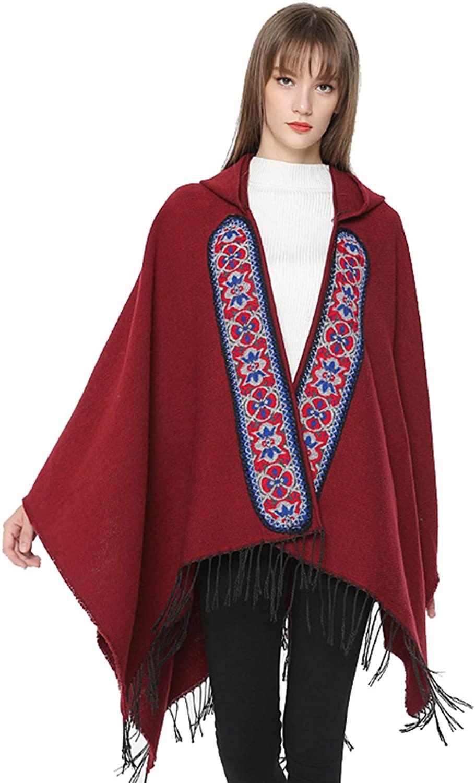 Toppshe Women's Plaid Sweater Poncho Cape Coat Open Front Blanket Shawls Wraps Tassel