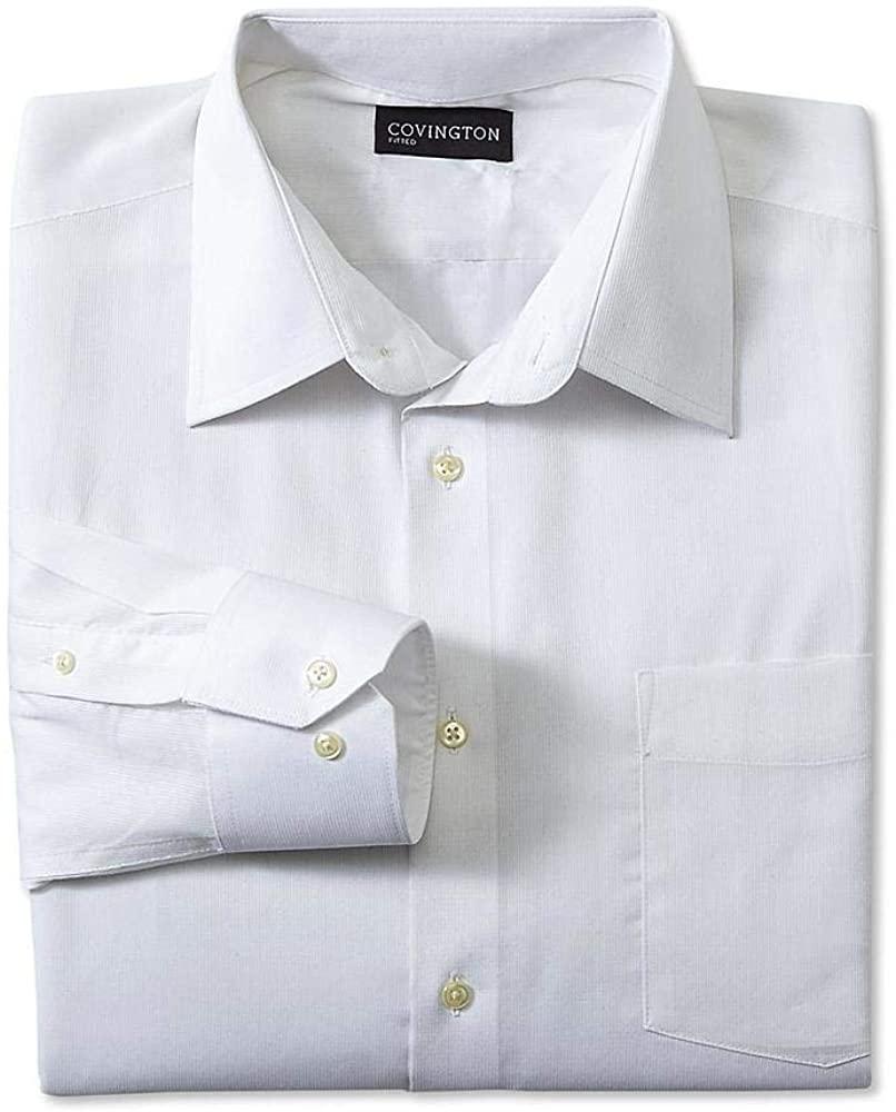 Covington Men's Classic Fit Dress Shirt - Dobby Striped Size Large 16.5 X 32-33 White