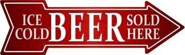 Bargain World Ice Cold Beer Sold Here Novelty Metal Arrow Sign (Sticky Notes)