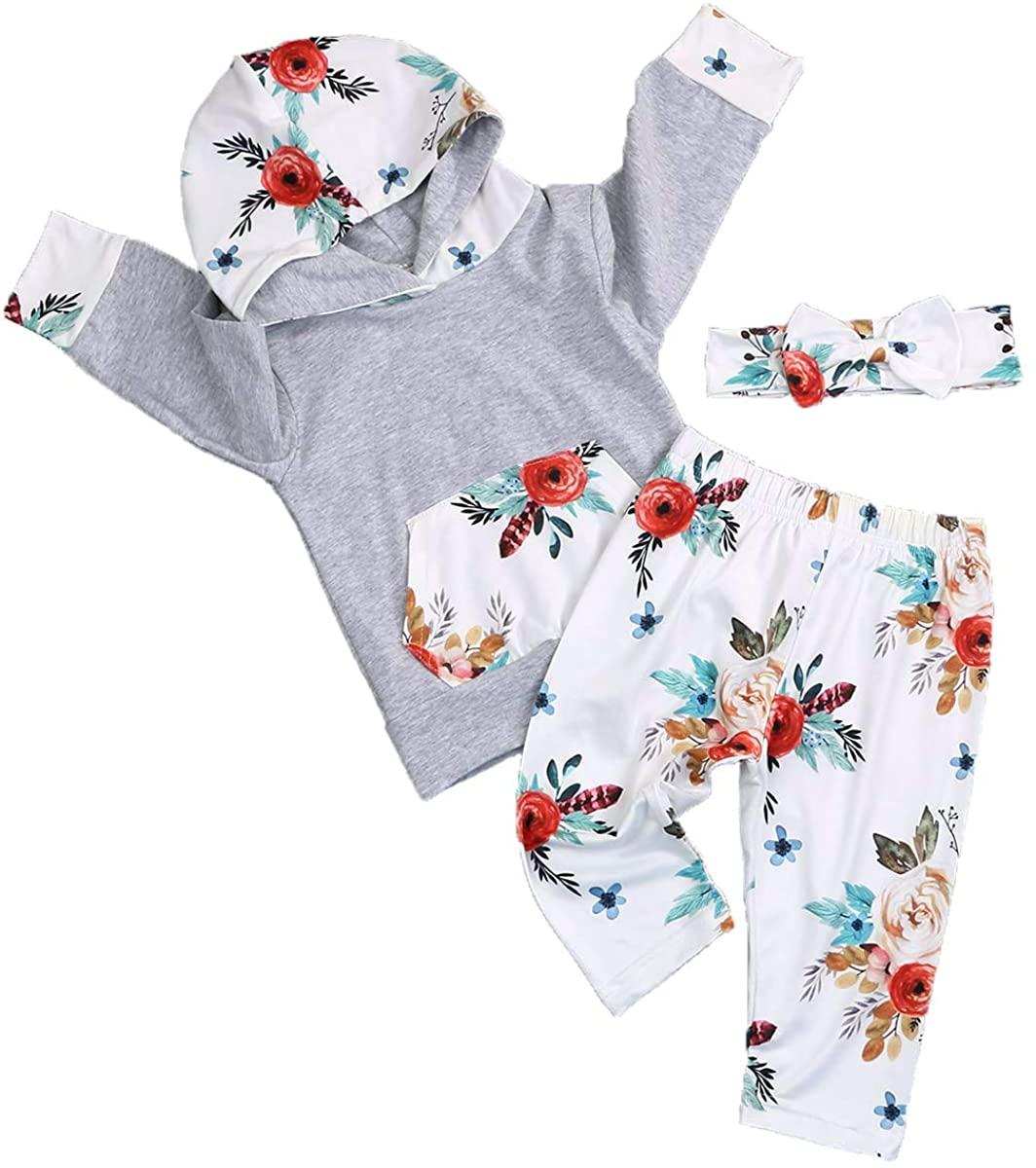Toddler Baby Girls Clothes Long Sleeve Hoodie Kangaroo Pocket Sweatshirt Floral Pants +Headband 3Pcs Outfit Sets