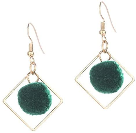 Harva 1Pair Square Ball Earrings Personality Wild Simple 5 Colors Hair Ball Woman Earrings Jewelry Gifts - (Metal Color: GR)