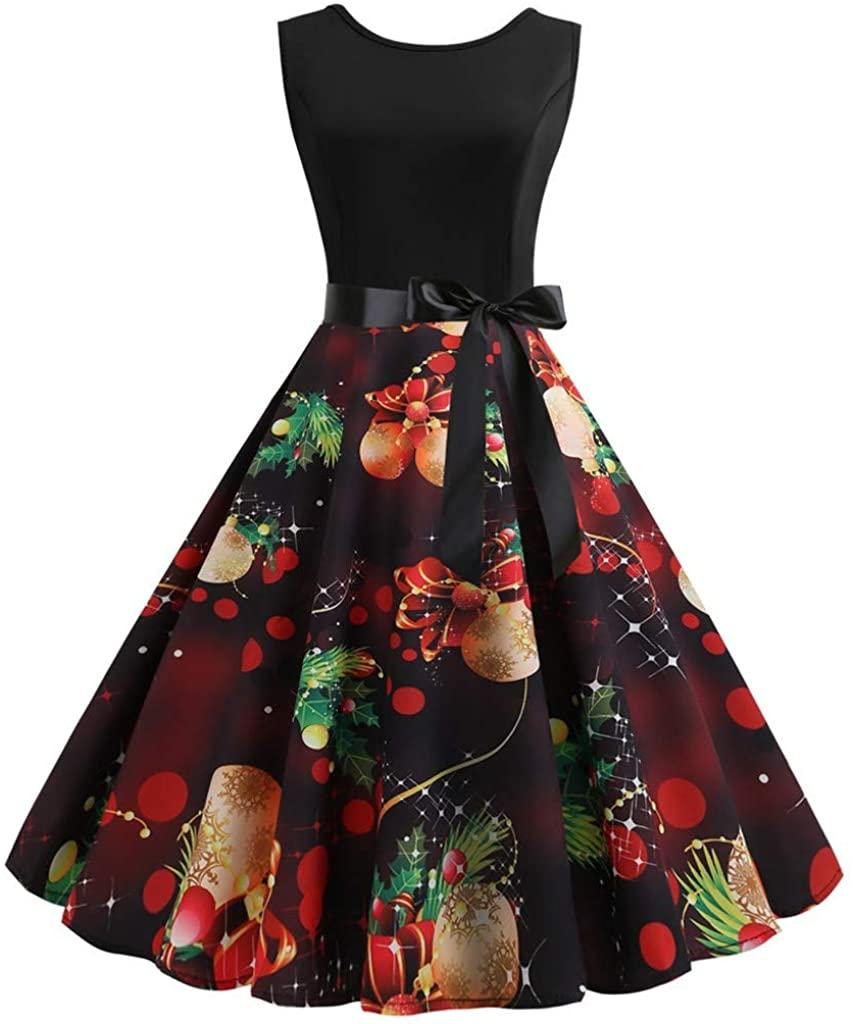 ZEFOTIM 2019 Christmas Dress, Women Fashion Christmas Print Dress O-Neck Sleeveless Zipper Hepburn Party Dress