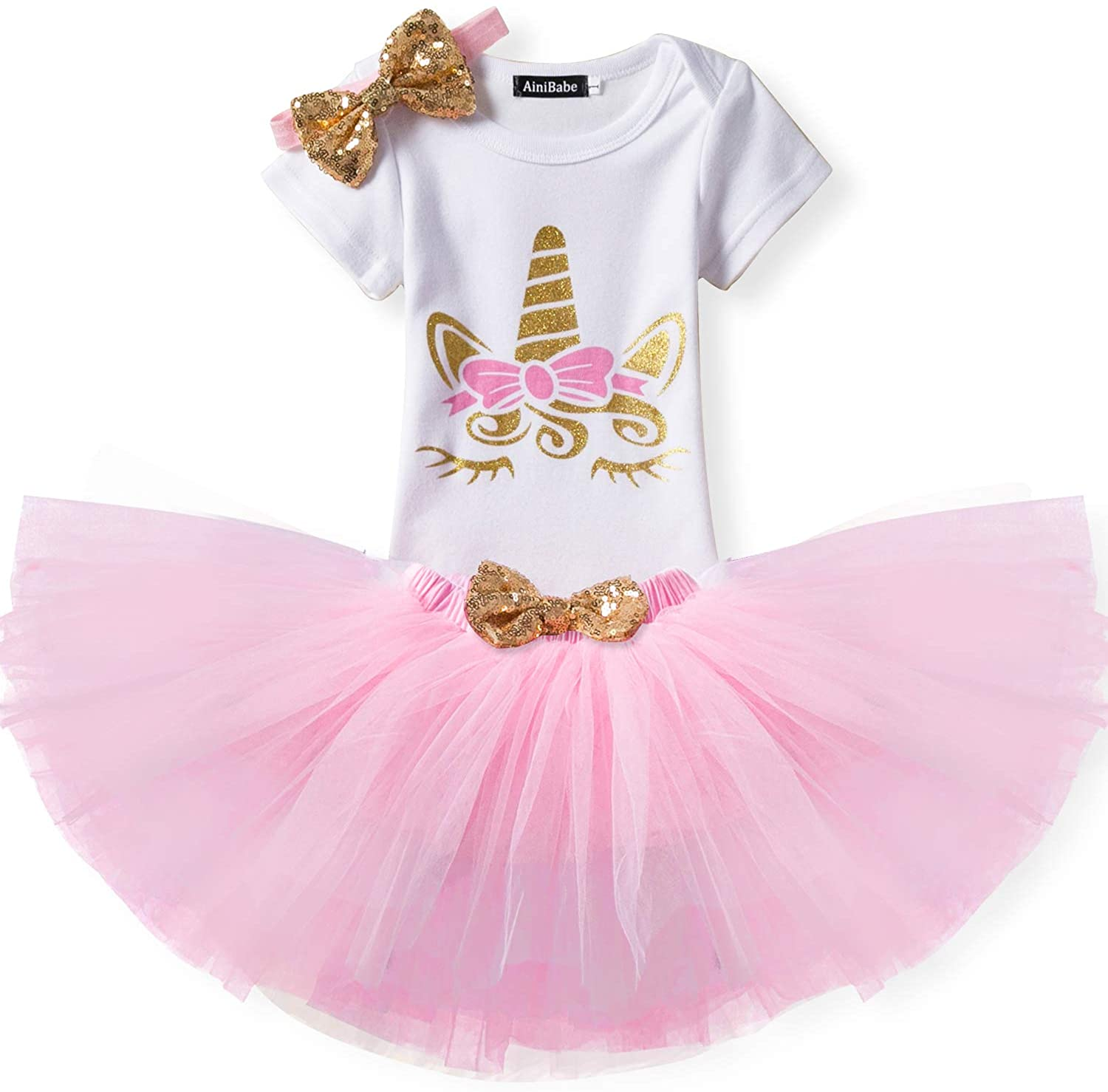 TTYAOVO Baby Girl Birthday 3pcs Unicorn Outfits with Headband & Romper & Skirts