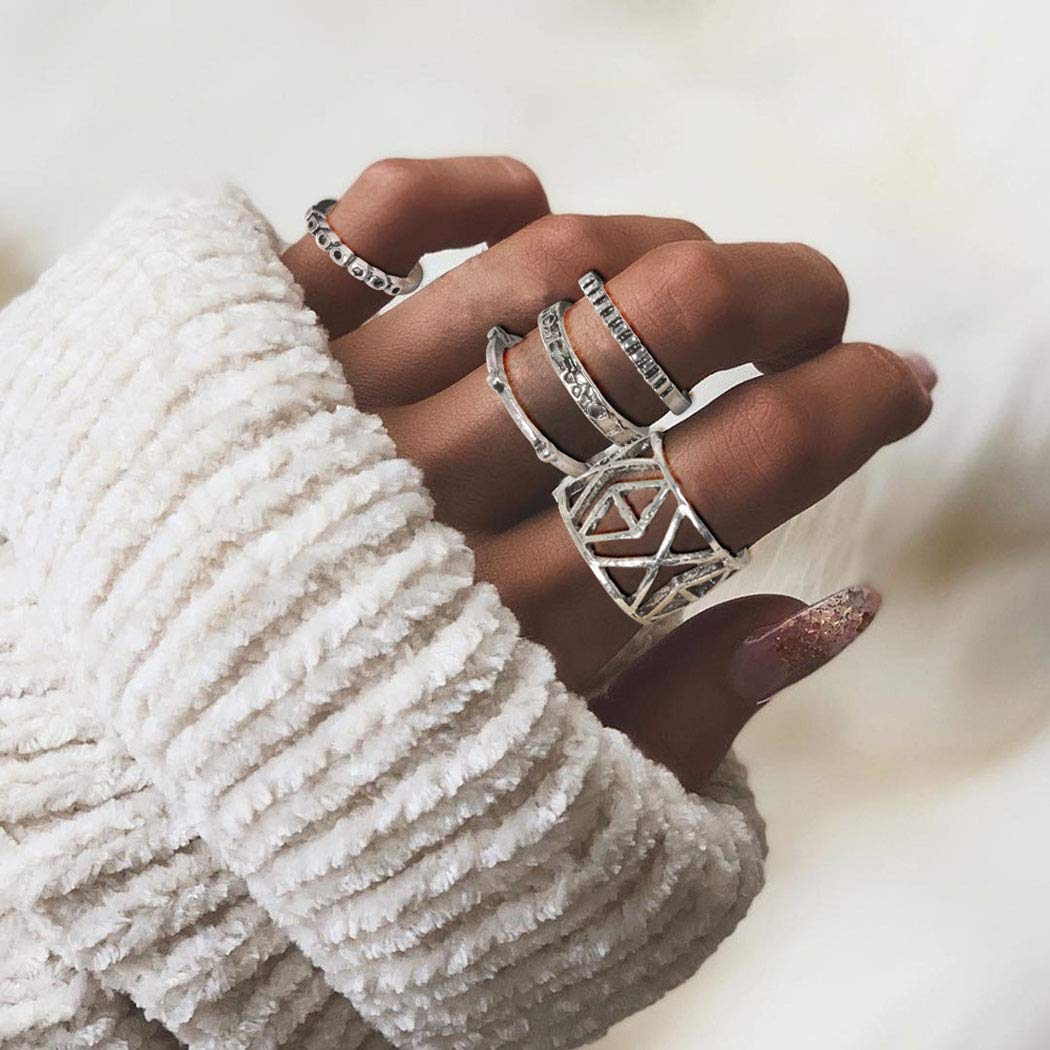 Simsly Vintage Kunckle Ring Stackable Silver Joint Nail Ring Crystal Knuckle Rings Set for Women and Girls(6PCS)