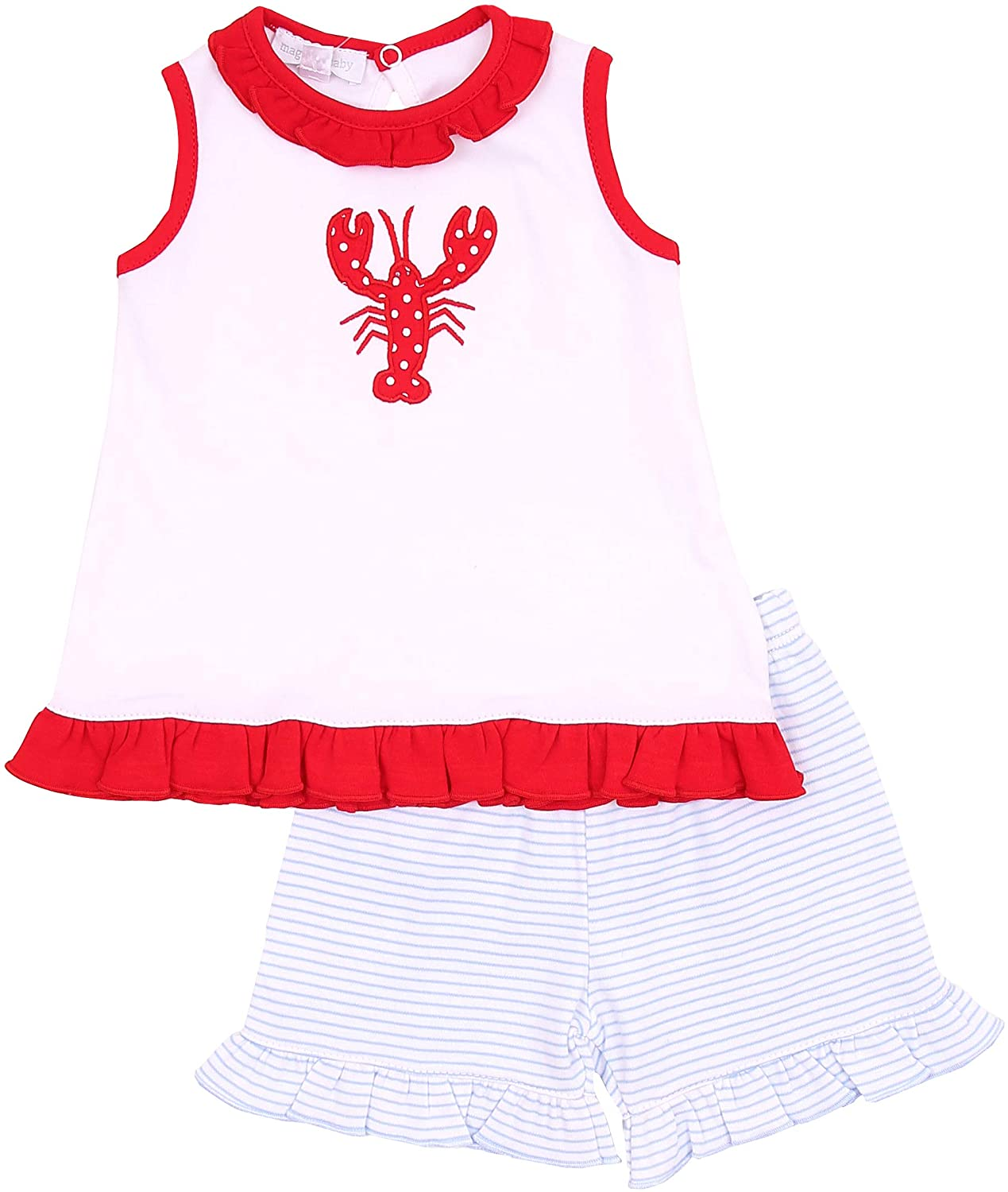 Magnolia Baby Unisex Baby Snappy The Lobster Applique Ruffle Short Set Red