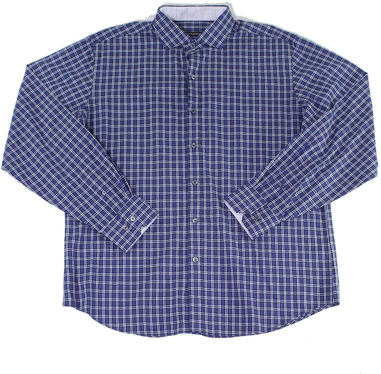 Bugatchi Uomo Mens Dress Shirts Large Classic Fit Plaid Blue L