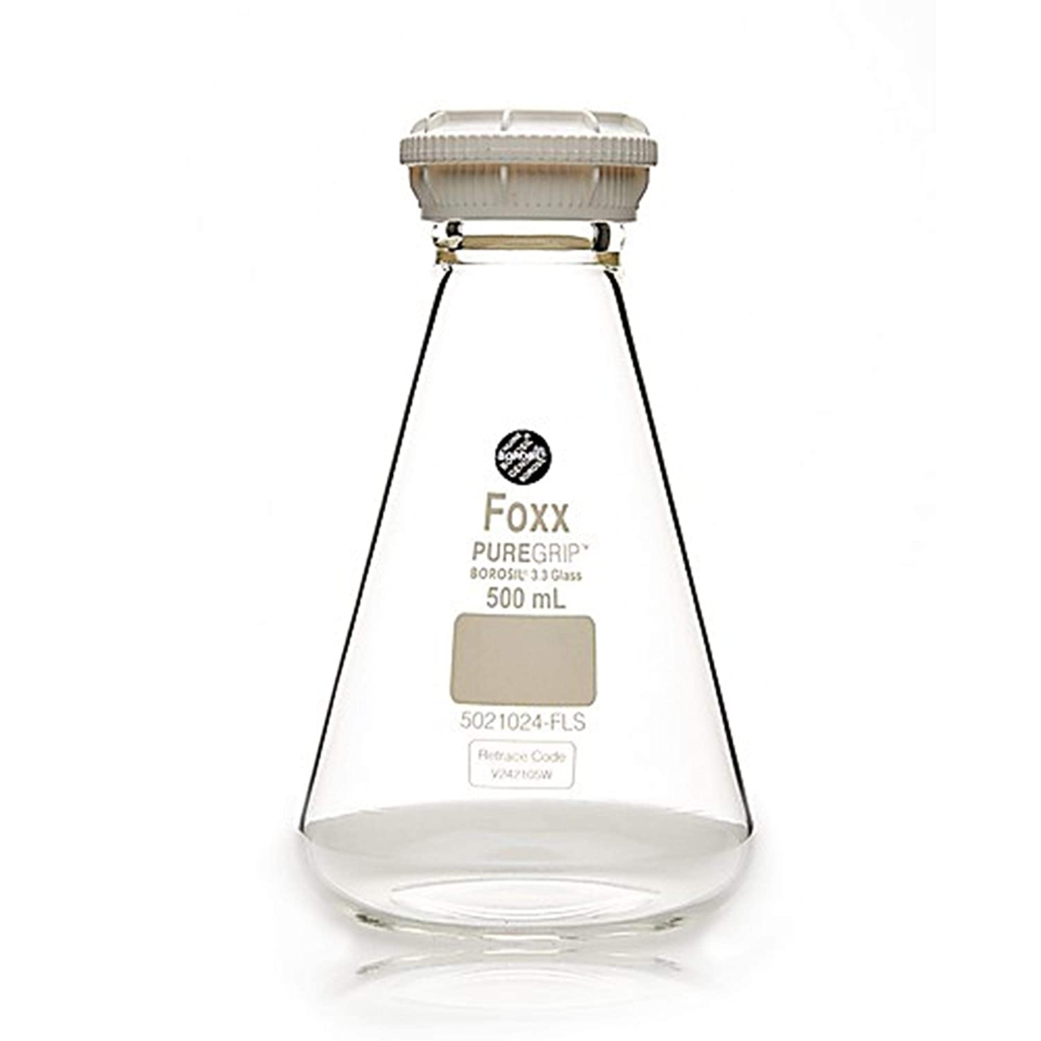 Foxx Life Sciences 5021024-FLS PUREGRIP Borosilicate Glass 3.3 Erlenmeyer Flask with GL45 Screw Cap and Pouring Ring, Clear, 500 ml Capacity (Pack of 10)