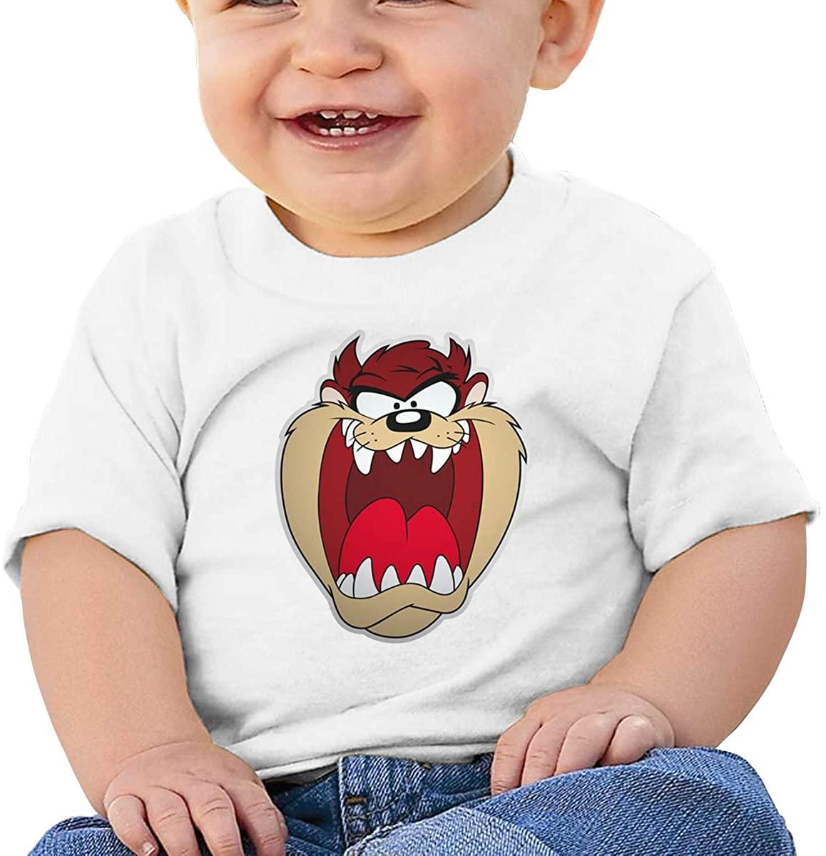 6-24 Months Boy and Girl Baby Short Sleeve T-Shirt Looney Tunes Tasmanian Devil Taz Original Minimalist Style White