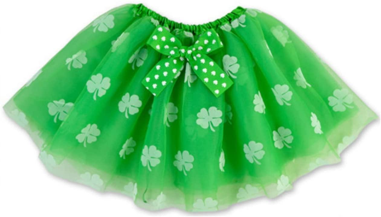 Rush Dance Ballerina St Patrick's Day Green & White Shamrock Clover Costume Tutu