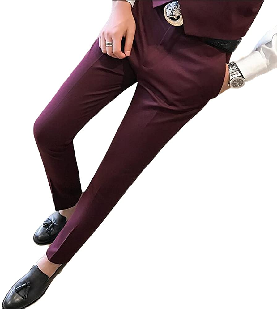 AK Beauty Men's Slim Fit Suit Pants Wrinkle-Free Tapered Flat Front Formal Pants Separate Pants