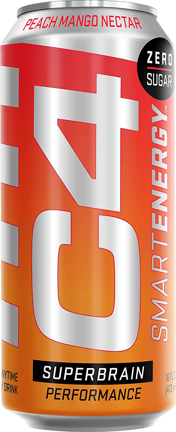 Cellucor C4 Smart Energy Sugar Free Sparkling Energy Drink Peach Mango Nectar | Performance Fuel & Nootropic Brain Booster Supplement with No Artificial Colors or Dyes | 16oz (Pack of 12)