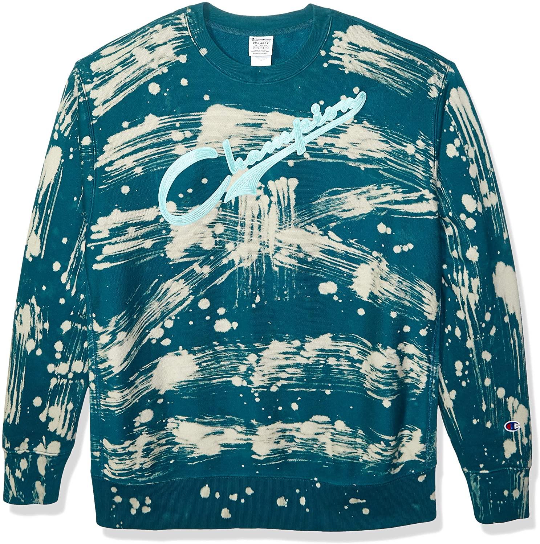Champion LIFE Men's Custom Bleach Splatter Reverse Weave Sweatshirt