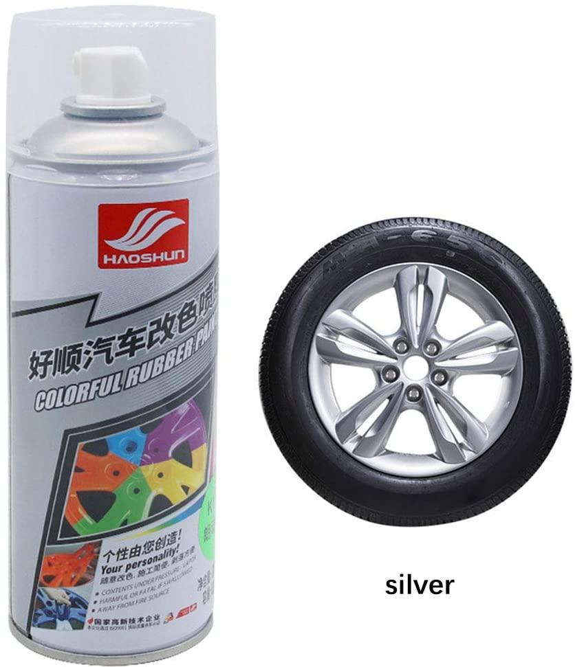 BEESCLOVER Auto Wheel Spray Film Car Tire Color Change Wheel Hub Paint Silver