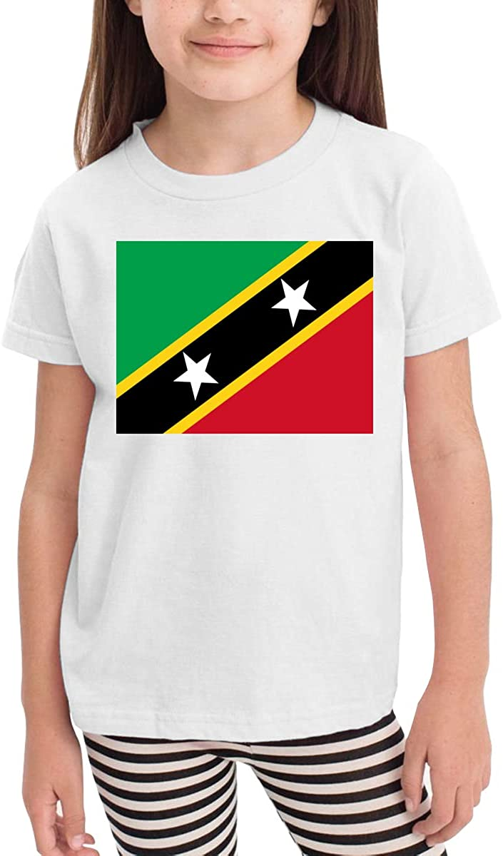 LINGMEI Children's T-Shirt Saint Kitts and Nevis Flag Kids Boys and Girls Short-Sleeved Shirt