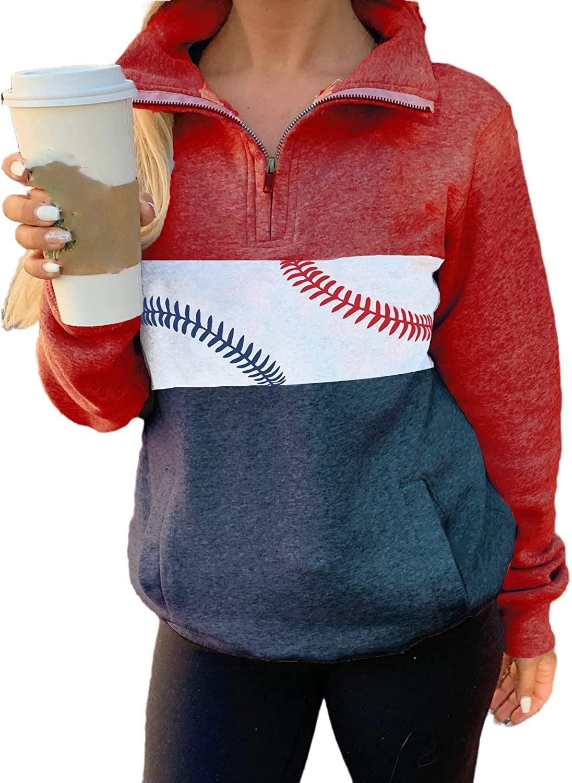 Baseball Lace One The Side Colorblock Sweatshirt Women Long Sleeve Blouse Zip Sweatshirt
