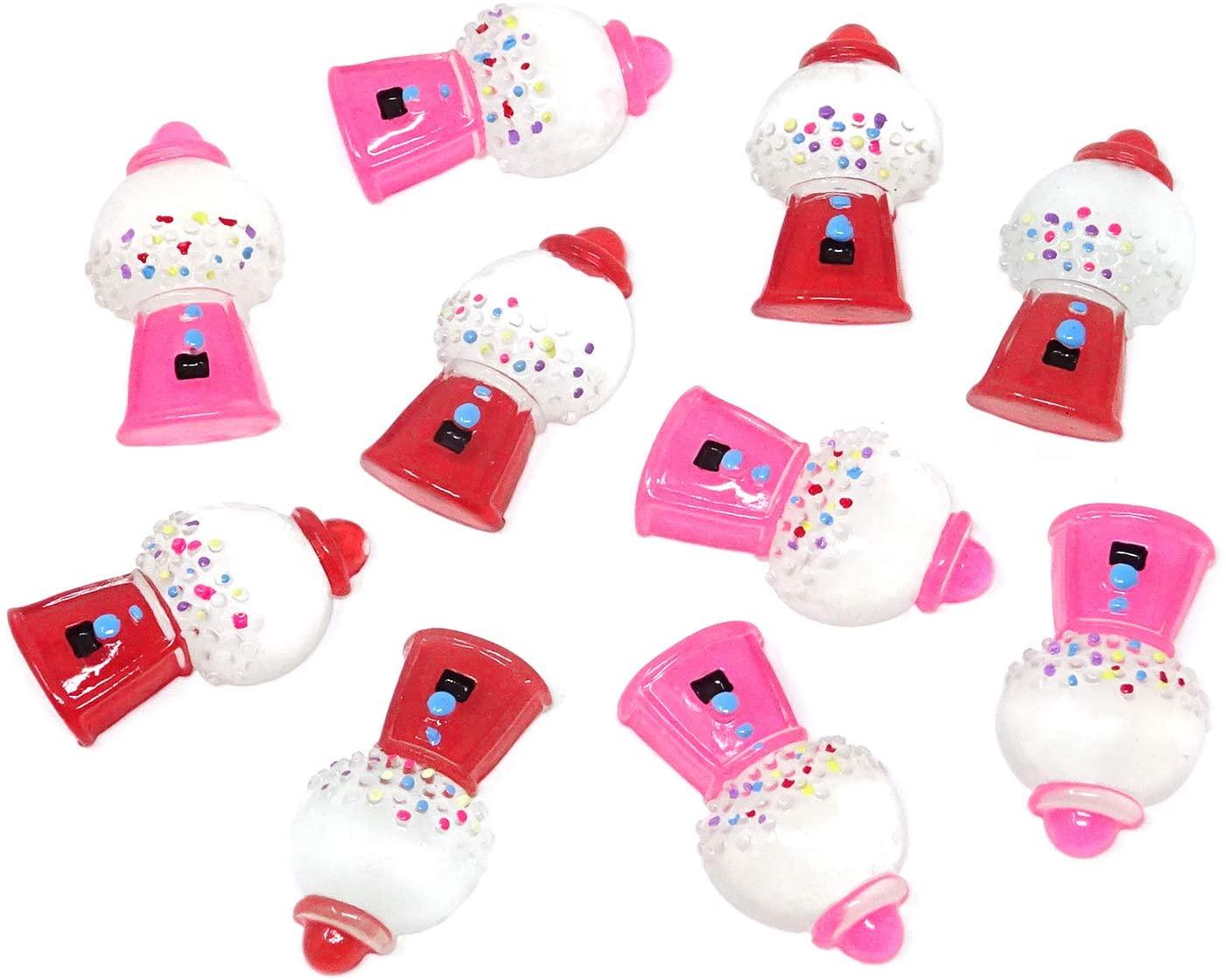 Honbay 10PCS Bubble Gum Machine Flatback Resin Beads for DIY Crafts