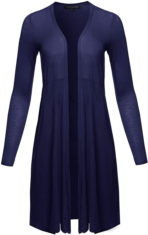 Women's Solid Kimono 3/4 Sleeves Wrap Side Slits Long Cardigan