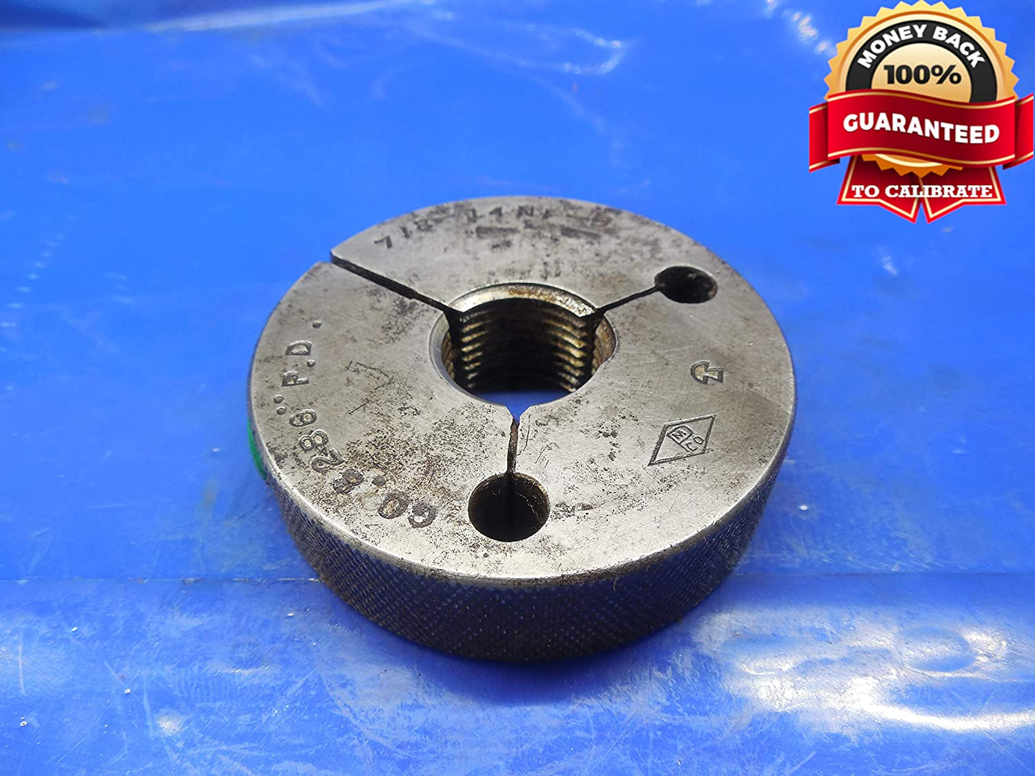 7/8 14 NF 3 Thread Ring GAGE .875 GO ONLY P.D. = .8286 7/8-14 .8750 Quality Tool
