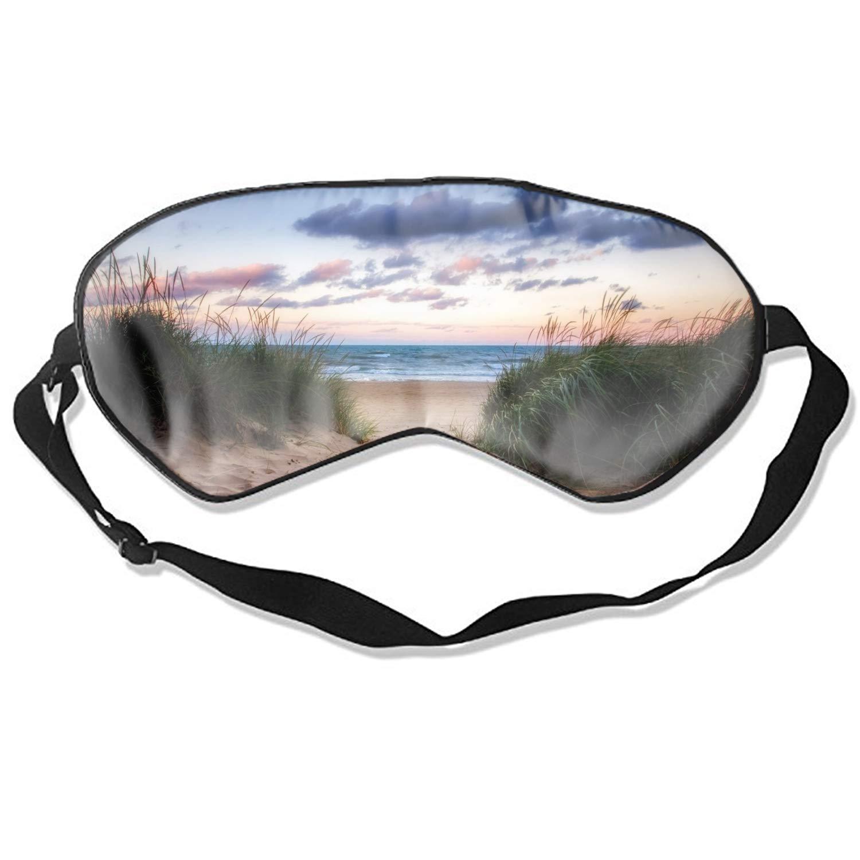 Sleep Mask Earth Beach Sand Grass Path Ocean Sea Horizon Eye Cover Comfortable Blindfold for Total Blackout & Light Blocking