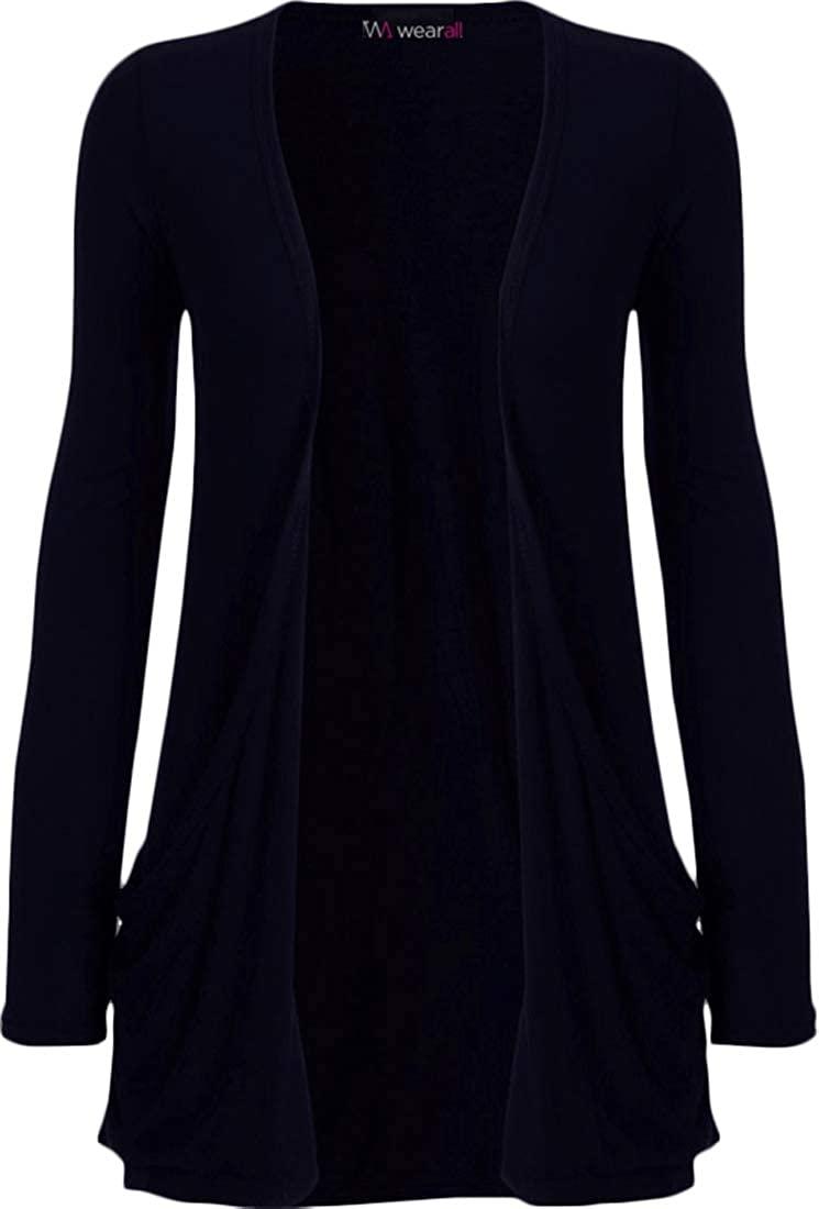 WearAll Women's Long Sleeve Pocket Cardigan - Navy Blue - 16-18